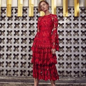 Alexis Defina Red Lace Gown Dress Small